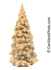 gold christmas tree isolated