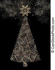 Gold Christmas tree luxury abstract line design