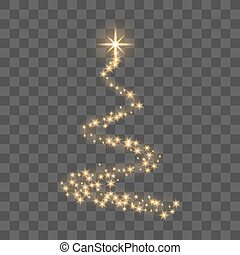 Gold Christmas tree on transparent background Happy New Year...