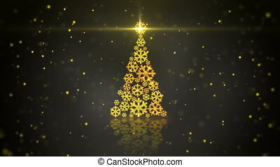 gold christmas tree shape of glowing snowflakes loop