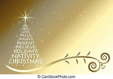 Gold Christmas tree vector