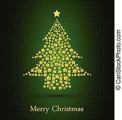 Gold Christmas Tree With Green Background