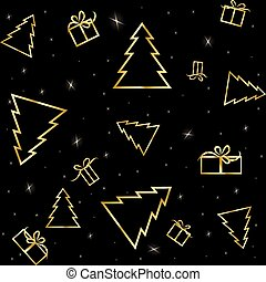 Gold Christmas tree with shining on a black background