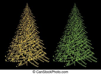 Gold Christmas tree with text, vector