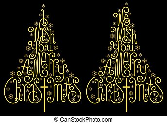 Gold Christmas trees, golden letters, vector