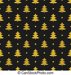 Gold Christmas trees pattern