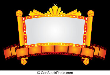 Gold cinema neon - Big gold cinema neon with film strip