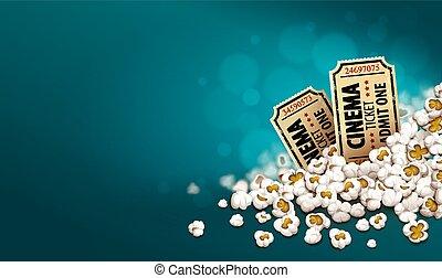 Gold cinema tickets in popcorn. Online movie banner. Vector.