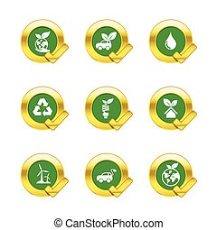 Gold circle and check mark with eco icons isolated on white background