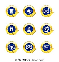 Gold circle and check mark with education icons isolated on white background