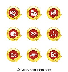 Gold circle and check mark with logistic and transport icons isolated on white background 002