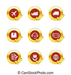 Gold circle and check mark with logistic and transport icons isolated on white background