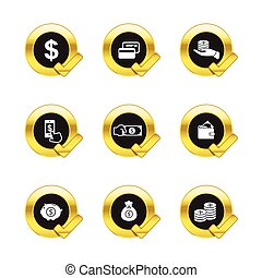 Gold circle and check mark withbusiness icons isolated on white background
