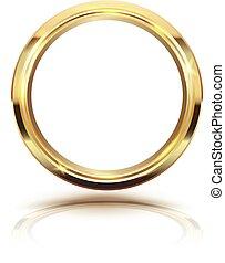 Gold circle isolate on white background.