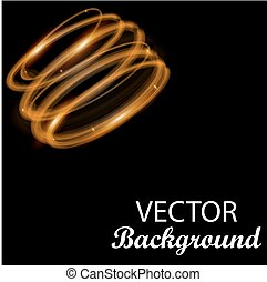 Gold circle light effect. Glowing magic. Abstract background