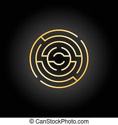 Gold circular maze icon