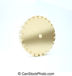Gold Circular saw blade icon isolated on white background. Saw wheel. 3d illustration 3D render