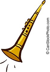 Gold clarinet, illustration, vector on white background.