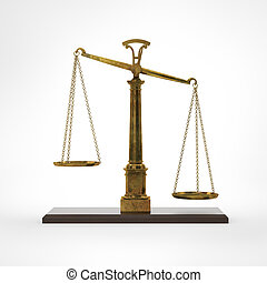 Gold classic scales of justice isolated on white background
