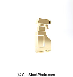 Gold Cleaning spray bottle with detergent liquid icon isolated on white background. 3d illustration 3D render