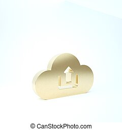 Gold Cloud upload icon isolated on white background. 3d illustration 3D render