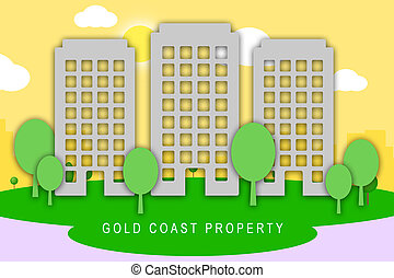 Gold Coast Property City View Depicts Surfers Paradise Real Estate - 3d Illustration