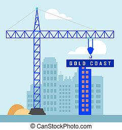 Gold Coast Property Construction Depicts Surfers Paradise Real Estate - 3d Illustration