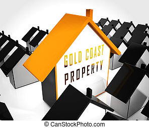 Gold Coast Property Icon Depicts Surfers Paradise Real Estate - 3d Illustration