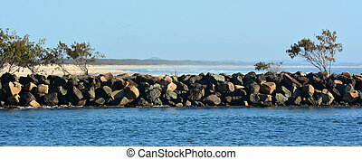Gold Coast Seaway -Queensland Australia - Panorama view of...