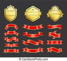 Gold coats of arms with ribbons decoration vector