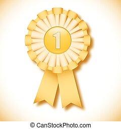 "Gold cockade - ""First place"" gold decoration cockade"