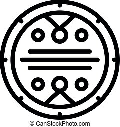 Gold coin amulet icon, outline style