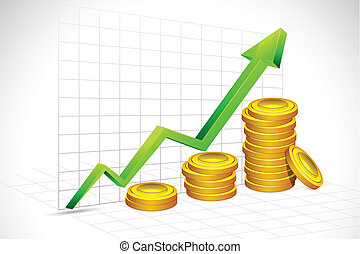 illustration of gold coin bar with graph and arrow on backdrop