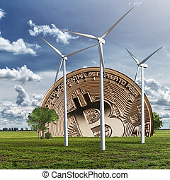 Gold coin bitcoin against the sky and field. Eco concept. ...