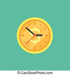 Gold coin clock with dollar sign. Flat icon isolated on powder blue.