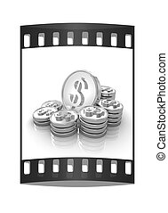 gold coin ctack on a white background . The film strip