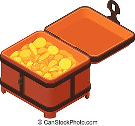 Gold coin dower chest icon, isometric style