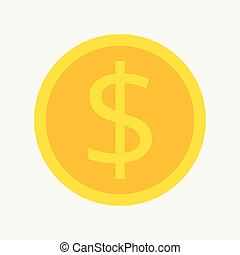 Gold coin flat style isolated on blue background