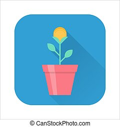 Gold coin flower pot icon