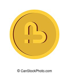 Gold coin icon in flat style