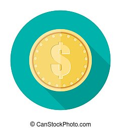Gold coin icon with dollar currency symbol.
