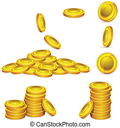 Gold Coin - illustration of collection of golden coin in...