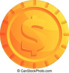 Gold coin interface icon, cartoon style