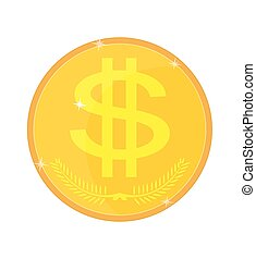 Gold coin isolated with a dollar sign