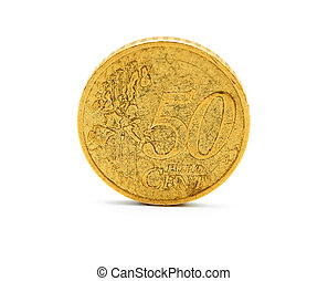 Gold coin on a white background.