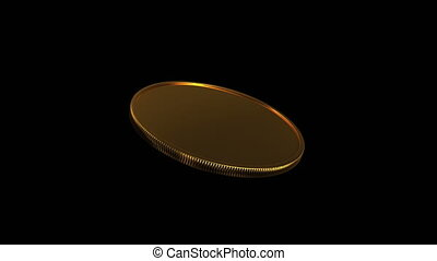 gold coin rotation 45 degree angle 4K - 3d render of golden...