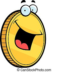 Gold Coin Smiling - A cartoon gold coin smiling and happy.