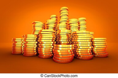gold coin stack on orange background
