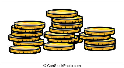Gold Coin Stack - Vector - Drawing Art of Cartoon Gold Coins...