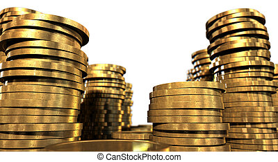Gold Coin Stacks - A closeup of various sized piles of gold ...